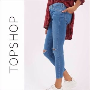 Topshop Moto Ripped Knee Leigh Jeans Mid Blue